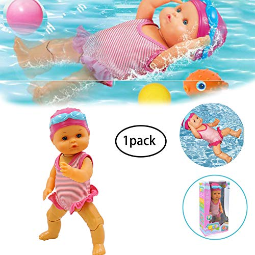 Electric Swimming Doll Non-Silicone Inedible Swimming Doll Art Cute Doll Really Swims Battery Operated Swimming Doll Waterproof Baby Bath Toy for home Decorations Birthday Gifts Present for kids 1