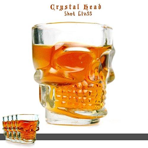 takestop® Set 4 Pezzi Bicchierini YF da LIQUORE Teschio Skull CICCHETTI CICCHETTO Shot Rum Vodka Whiskey in Vetro Bicchiere CHUPITOS