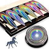 Chrome Nail Powder by iMethod - Holographic Nail powder, Chrome Powder for Nails, Holo Nail Powder, Rainbow Unicorn Mirror Effect, Multi Chrome Manicure Pigment, 0.04oz/1g