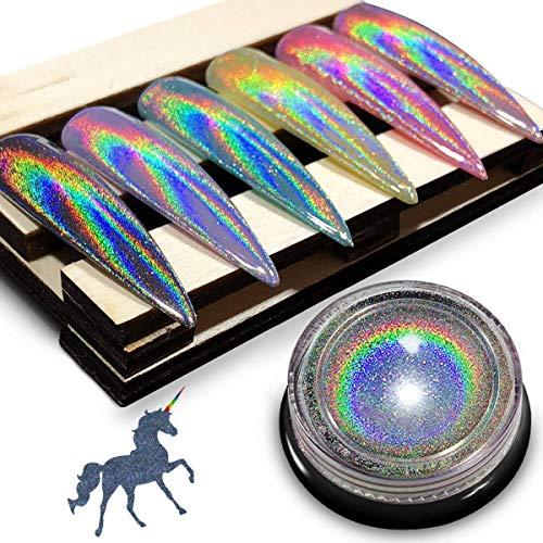 iMethod Chrome Nail Powder - Holographic Nail powder, Chrome Powder for Nails, Holo Nail Powder, Rainbow Unicorn Mirror Effect, Multi Chrome Manicure Pigment, 0.04oz/1g