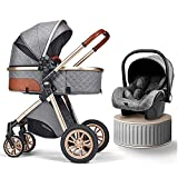 JIAX Baby Stroller 3 in 1 Luxury Bassinet Stroller Foldable Baby Stroller Easy Fold Stroller Footmuff Blanket Cooling Pad Rain Cover Backpack Mosquito Net Fan (Color : Gray)