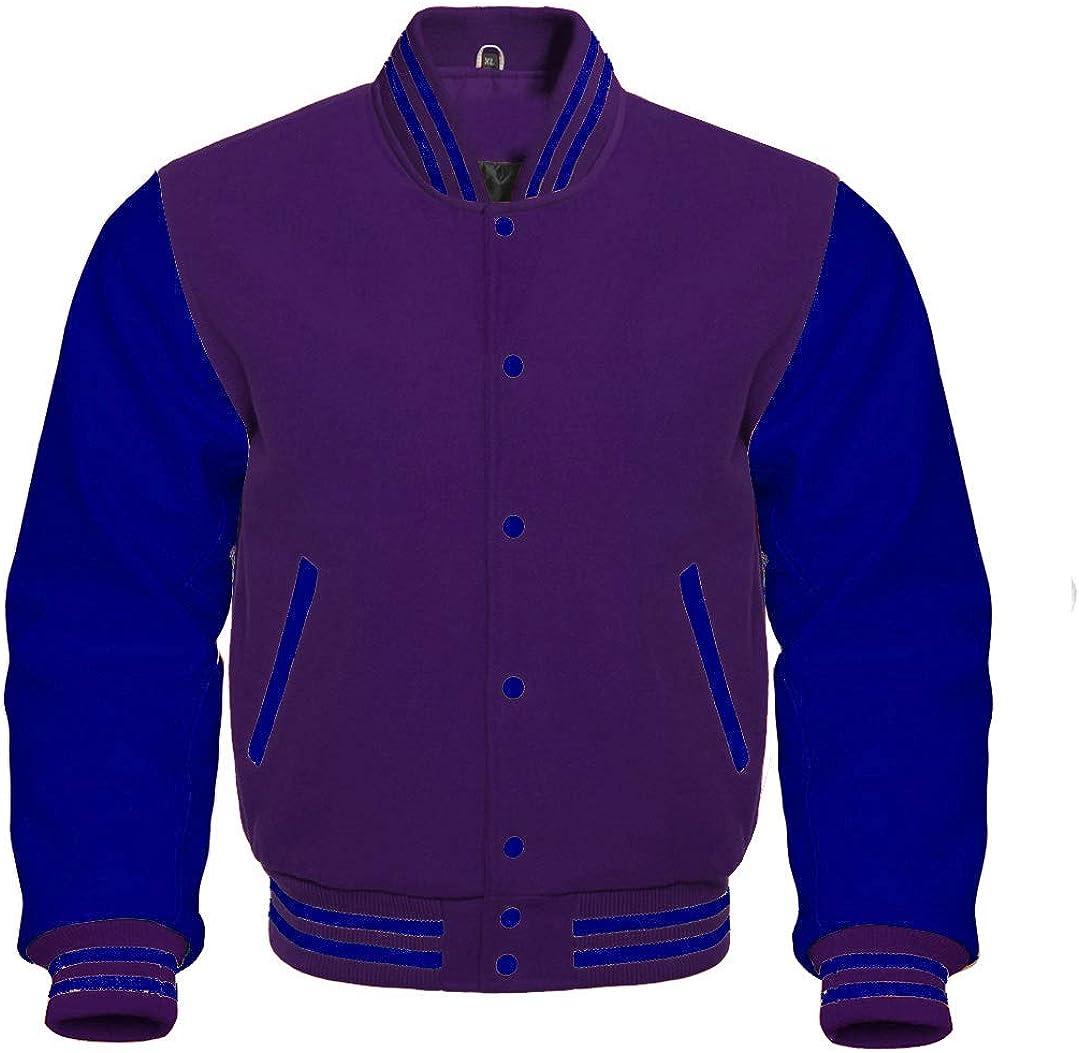 Varsity Letterman Baseball Bomber Retro Vintage Jacket Purple Wool Navy Genuine Leather Sleeves