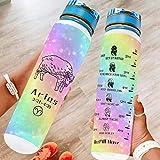 Banniyouall Constelación Aries Big Sports Botella de agua con marcador de tiempo y agua botella de viaje regalos para amigos blanco 1000ml