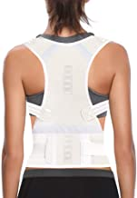 Thoracic Back Brace Posture Corrector for Women and Men - Improves Posture and Provides Lumbar Support - Magnetic Support Brace for Neck Shoulder Upper and Lower Back Pain Relief (Beige, Medium)