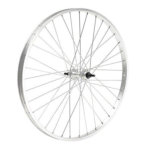 Ruota cerchio posteriore bici bicicletta citybike/passeggio 26x1 3/8-5/8 1v. in alluminio, mozzo in acciaio, chiusura con dado, silver