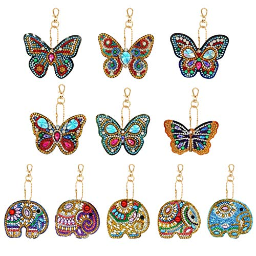11 Pieces DIY Diamond Painting Keychains Full Round Drill 5D Diamond Painting Pendant Butterfly and Elephant Shaped Diamond Painting Pendant Ornaments for Art Craft, Key Ring, Phone Charm, Bag Decor