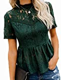 Tobrief High Neck Tops for Women,Ladies Sexy Hollow Out Crochet Blouses Lace Peplum Shirt Dark Green S