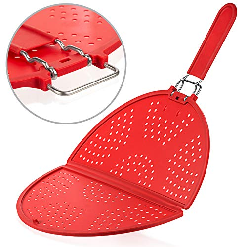 Splatter Screen for Frying Pan 12-Inch - Grease Splatter Guard - Foldable Splatter Screen Strainer - Bacon Silicone Splatter Screen with Folding Handle - Oil Screen for Skillet - Fry Splash Guard