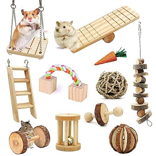 11 unids Hamster Masticar Juguetes de Madera Natural de Cerdo de Guinea Bola Swing con Accesorios Mancuernas Gerbil Ejercicio Campana Rodillo Dientes Cuidado Molar Juguete para Conejos Loro Pájaro