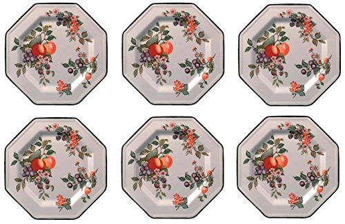 Johnson Bros - Fruta fresca - Juego de 6 platos llanos (27 cm)