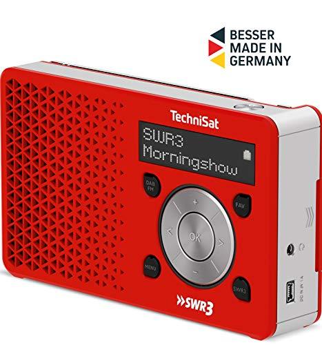 TechniSat Digitradio 1 SWR3-Edition DAB Radio (klein, tragbar, mit Lautsprecher, DAB+, UKW, Favoritenspeicher, Direktwahltaste zu SWR3, 1 Watt RMS) rot/silber