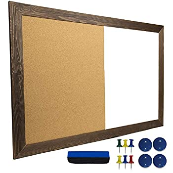 Dry Erase Cork Board Combo  Magnetic White Board with Cork Bulletin & Rustic Wooden Frame for Home School Office - 24 x36