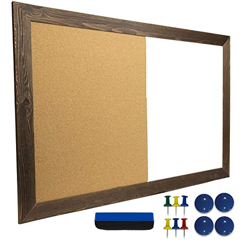 """Dry Erase Cork Board Combo: Magnetic White Board with Cork Bulletin & Rustic Wooden Frame for Home, School, Office - 24""""x36"""""""