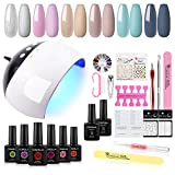 COSCELIA 6 Colors Nail Gel Polish Starter Kit with 24W LED Nail Dryer