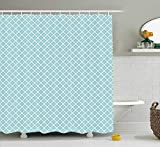 Presock Retro Cortinas De Ducha, Big White Dots Spots Little Circles Shabby Pastel Colors Symmetrical Monochrome, Fabric Bathroom Decor Set with Hooks, 60 x 72Inch Extra Long, Light Blue White