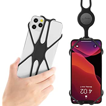 最新版 Bone ネックストラップ スマホ 携帯 4-6.5インチのスマホに対応 全シリコン製 大画面スマホ最適 安全装置付き 落下防止 長さ調節可能 iPhone 11 Pro Max XS XR X 8 7 6Plus Sony Samsung Google Pixel 3 XL など適用 (ブラック) Lanyard PhoneTie 2