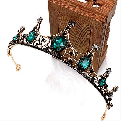 Hoofdband Hoofddeksels Crownvintage Zwart Groene Steen Kroon Bruid Bruiloft Jurk Hoofddeksels Accessoires