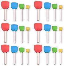 24 piezas de pintura redonda esponja esponja conjunto de pinceles de colores mini bricolaje pintura sellos de esponja con mango de madera dibujo Doodle herramientas para niños