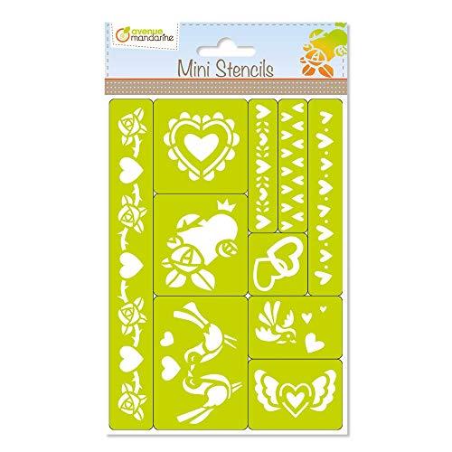 Avenue Mandarine 42835O Set mit Mini-Schablonen zum Verzieren und Gestalten, ideal für Ihre Bastelarbeiten (Kartengestaltung, dekorative Schachteln), Herzen