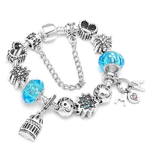 Pulsera de plata de moda del encanto del corazón para las mujeres con la mamá granos DIY pulseras para el día de la madre regalo C01 18cm