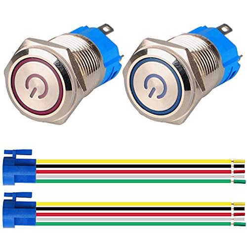 GUUZI 2pcs Interruptor de Botón Pulsador Autobloqueo 1NO1NC Acero Inoxidable Impermeable 220V-230V Interruptor LED Iluminado con Enchufe de Cable Adecuado para Orificio de Montaje de 16mm(Azul+Rojo)