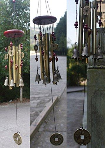 Windspiel, Bronze, 4 Metall-Zylinder, 5 Glocken, 60cm lang, für Garten, Ornament für den Außenbereich - 7
