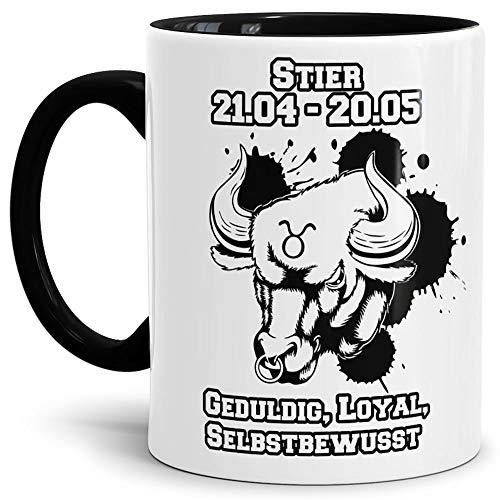 Tassendruck Sternzeichen-Tasse Stier - Innen & Henkel Schwarz - Geburtstag/Astronomie/Sternen-Bilder/mit Spruch/Witzig/Kaffeetasse/Mug/Cup - Qualität Made in Germany