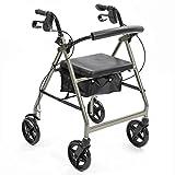 NRS Healthcare A-Series 4-Wheel Rollator Walking Aid, Silver