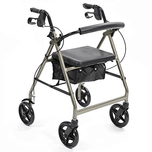 NRS Gezondheidszorg A-serie 4-wiel Rollator Walking Aid, Rood Silver ZILVER