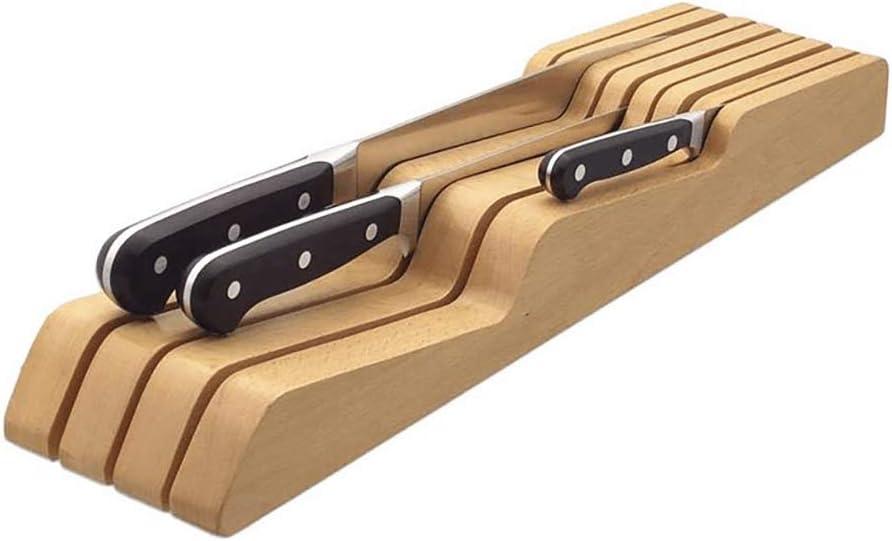 Solid OFFicial mail order Wood Knife Holder Horiz Drawer 100% quality warranty! Kitchenware Organizer