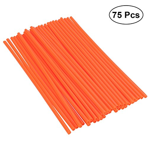 Vosarea 75 PCS Bicycle Cover Spoke Covers Dirt Bike Spoke Skins Motorcycle Mountain Bike Spokes Change Color Protector Kit - ((Orange)