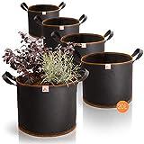 AmazyPflanzsack 20L 5er Set (Ø31cm, Höhe 26cm) – Pflanzbeutel aus robustem Vlies – atmungsaktiv + widerstandsfähig | Pflanzsäcke für UrbanGardeningHobbygärtner zum Anbau von Gemüse & Obst