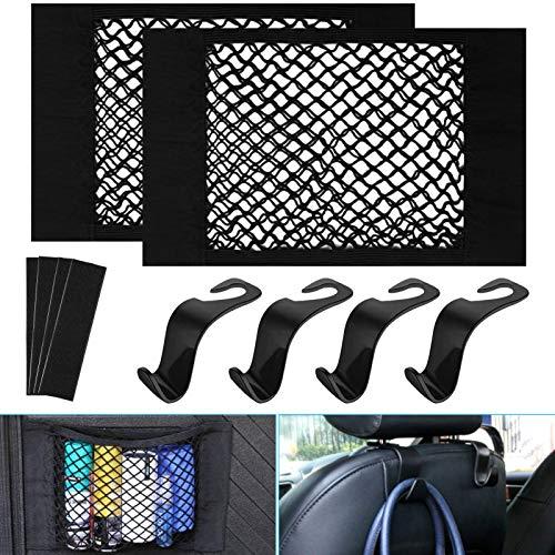 Annuus Netztasche Auto Kofferraum Organizer Set, 2 Pcs Universal kofferraumnetz Tasche mit 4 Klettstreifen und Gegenstück+ 4 Pcs Kopfstützen Haken für Autositz (40x25cm)