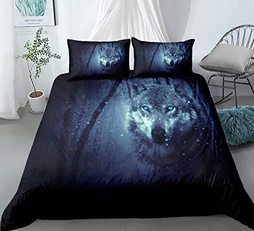 Juego De Ropa De Cama Wolf King Snow Negro Azul Funda De Edredón 200 x 200 cm,Microfibra Funda nórdica Muy Suave Hipoalergénica Transpirabl,para niños y Adolescentes niños y niñas