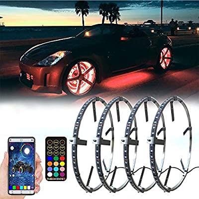 AddSafety 4PCS 15.5inch RGB LED Wheel Ring Light Kit Bluetooth Control w/Turn Signal and Braking Function can Controlled by Remote and APP(Single Row)