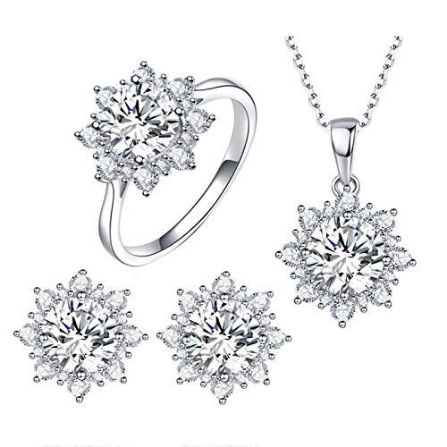 Ruby569y Collar de joyería unisex para mujer, circonita cúbica, colgante de copo de nieve, collar, pendientes y anillo, juego de joyería – blanco US 7