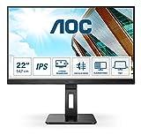 AOC 22P2Q - Monitor FHD da 22 pollici, regolabile in altezza (1920 x 1080, 75 Hz, VGA, DVI, HDMI, DisplayPort, hub USB), colore: Nero