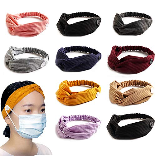 Women's Boho Headbands with Buttons for Face Masks and Covers,Knoted Headband Wide Turban Headband Twisted Criss Cross Head Wrap Elastic Hair Band Accessories for Women,Girls 10 Pack