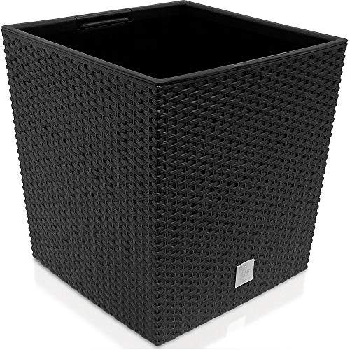 Prosperplast quadratisch Blumentopf in Rattan-Optik Rato Serie anthrazit Volumen 64 L, schwarz, 39 x 39 x 40,5 cm, DRTS400L-S433