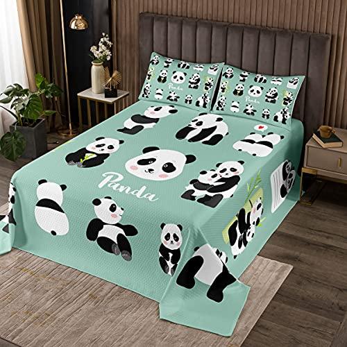 Panda Tagesdecke Nettes Tiermuster Bettüberwurf 170x210cm Für Kinder Karikatur Weiß Schwarz Panda Bär Gedruckt Steppdecke Grün Bambus Dekor