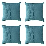 SOPARLLY Set of 4 Top Pure Color Healthy Splicing Weave Cotton and Linen Fabric Modern Decorative Home Office Farmhouse Car Throw Pillow Case Couch Cushion Cover (Green, 18X18 inches)