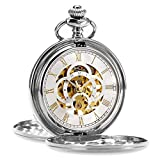 ManChDa Pocket Watch Retro Smooth Classic Mechanical Hand-Wind Steampunk Roman Numerals Fob Watch for Men Women with Chain + Box (1.Silver)