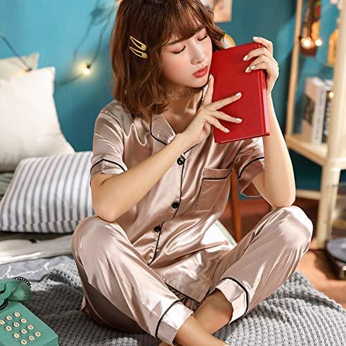 WTBI Pantalones de Manga Corta de Verano Cardigan Solapa Seda de imitación Pijamas para el hogar Conjunto Largo fragante y Seda Corta 11 Color Betel, 4XL