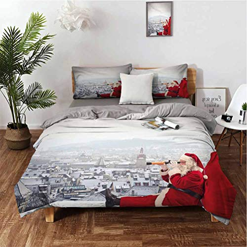 Christmas Stylish and Exquisite Home Decoration Design 3-Piece Set Santa Claus Sitting on Roof Top Looking Through Binoculars Cloudy Cityscape Easy to Install Breathable and Heat-dissipating Sheets v