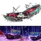 Haokaini Adorno de Acuario Naufragio Decoración del Tanque de Peces Barco Pirata Barco de Pesca Cueva Escondida Acuario Velero Paisaje Decoración Bomba de Aire Decoración de Acción