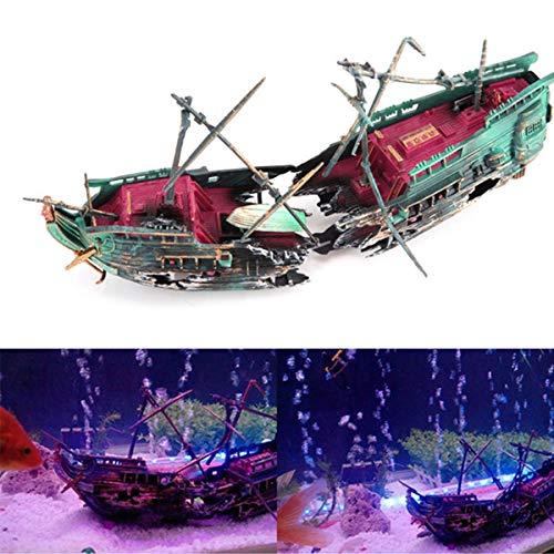 Haokaini Schiffswrack Aquarium Ornament Aquarium Dekor Piratenschiff Fischerboot Versteckt Höhle Aquarium Segelboot Landschaft Dekor Luftpumpe Angetrieben Aktion Dekor