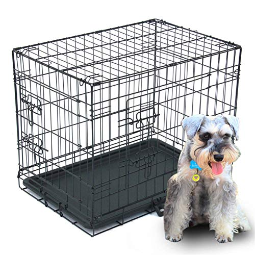 24' Pet Crates, Folding Cat Dog Steel Crate, Metal Wire Animal Playpen, Double Door Dog Crates with Partition Bars and Plastic Tray for Small Dogs Travel