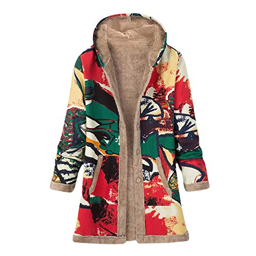 Damen Winterjacke Plüschmantel Baumwoll Leinend Blumendruck Outwear mit Kapuze, Oversize Vintage Hoodie Mäntel Nationaler Stil Cardigan Fleecejacke