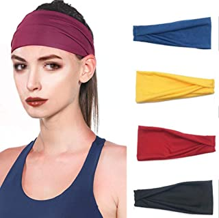 SYBL 4 Pack Sport Athletic Headband Cotton Stretch Sweat Band Elastic Workout Fitness Yoga Nonslip Wicking Hair Band for W...