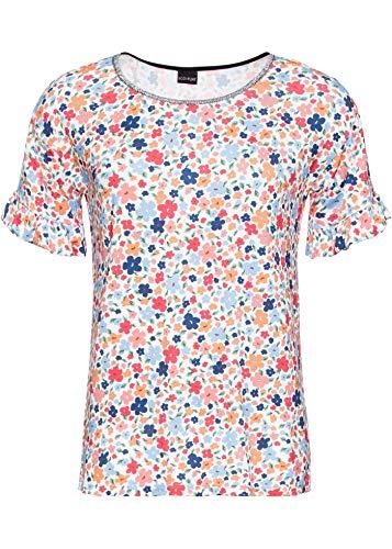 bonprix Charmantes Shirt mit Blumendruck und Ärmelvolants wollweiß geblümt 52/54 für Damen